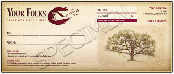 foto de Gift certificate Your Folks: genealogy made easy